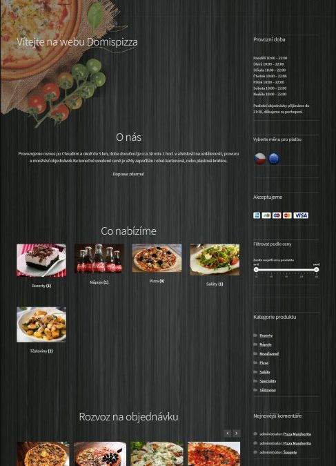 Web Domispizza, Chrudim | WordPress | WooCommerce e-shop
